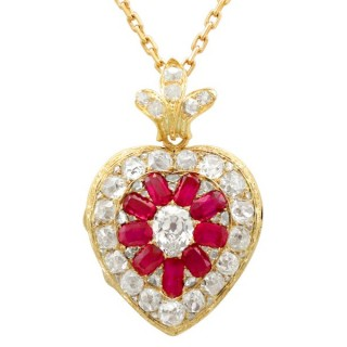 4.55 ct Diamond and Synthetic Ruby, 18 ct Yellow Gold Pendant / Locket - Antique Victorian