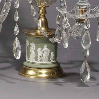 A Pair of George III Style Cut-Glass Candelabra With Wedgwood Jasperware Bases