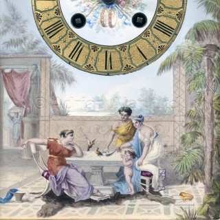 A Louis XVI Style Gilt-Bronze Champlevé Enamel Mantel Clock