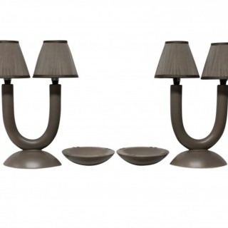 A PAIR OF FRENCH LAMPS WITH ASH TRAYS