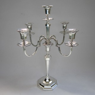 Antique George V Sterling silver candelabrum