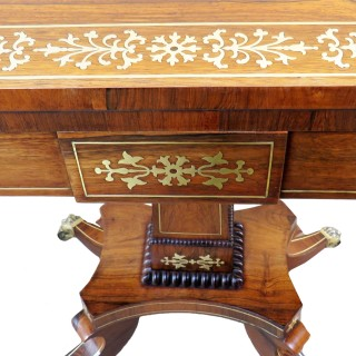 Regency Rosewood Brass Inlaid English Card Table