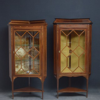 Two Edwardian Mahogany and Inlaid Corner Display Cabinets