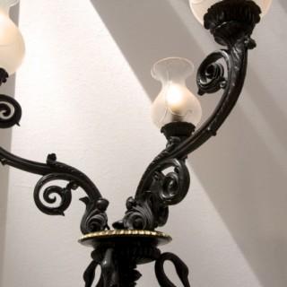 Floor standing bronze candelabra