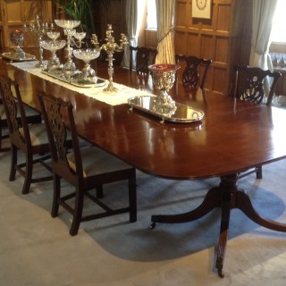 Large And Important Four Pedestal George III Period Mahogany Antique Dining Table