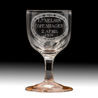 Admiral Viscount Nelson's wine glass commemorating the Battle of Copenhagen, 1801