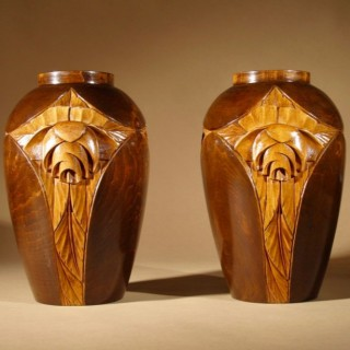 A Rare And Very Stylish French Art Deco Carved Wooden Pair Of Vases.