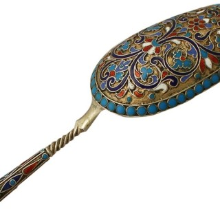 Russian Silver Gilt and Polychrome Cloisonné Enamel Caddy Spoon - Antique Circa 1890
