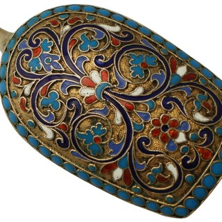 Russian Silver Gilt and Polychrome Cloisonné Enamel Caddy Spoon - Antique Circa 1890