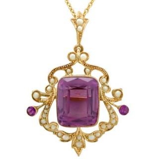 11.09 ct Amethyst and Pearl, 9 ct Yellow Gold Pendant Brooch - Antique Circa 1910