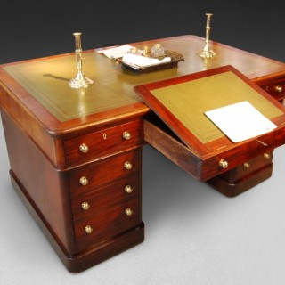 Mid 19th century Mahogany Partners Pedestal Desk