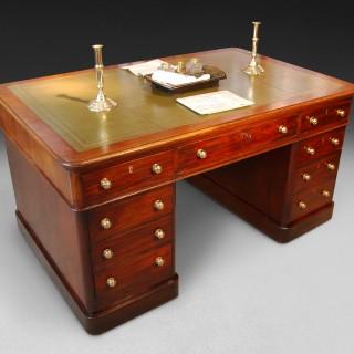 Mid 19th century Mahogany Partners Pedestal Desk