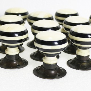 8 Pairs Of Antique Ebony, Bone And Brass Round Door Handles