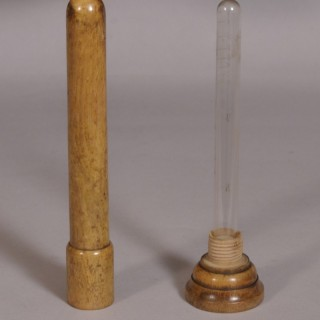 Antique Late Victorian Medical Glass Tube in a Beech Case