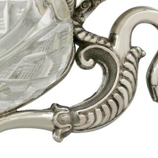 German Silver and Cut Glass Table / Cruet Set - Antique Circa 1880