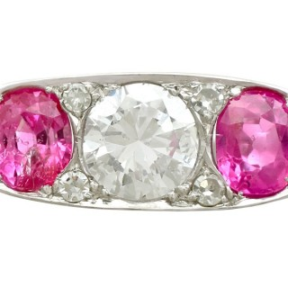 1.47ct Diamond and 2.20ct Pink Sapphire, Platinum Trilogy Ring - Antique Circa 1930