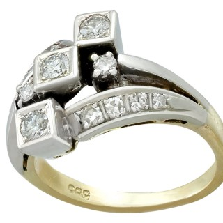 0.75ct Diamond and 14ct Yellow Gold Dress Ring - Vintage Circa 1960