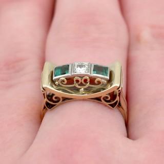 0.42ct Tourmaline and 0.25ct Diamond, 14ct Yellow Gold Ring - Art Deco Style - Vintage Circa 1950