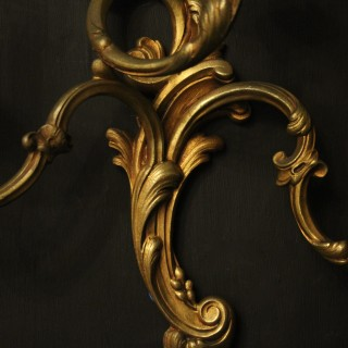 French Gilded Bronze Triple Arm Antique Lights