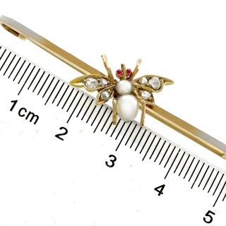 0.15ct Diamond and Ruby, Pearl and 12ct Yellow Gold 'Insect' Bar Brooch - Antique Circa 1890
