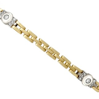0.60 ct Diamond and 18 ct Yellow Gold, 18 ct White Gold Set Bracelet - Vintage Circa 1980