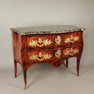 Louis XV Gilt-Bronze and Marquetry Commode or Sauteuse, Stamped