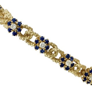 2.87ct Sapphire and 1.90ct Diamond, 18ct Yellow Gold Bracelet by 'Kutchinsky' - Vintage 1969