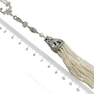 4.41ct Diamond and Seed Pearl, Platinum Sautoir Necklace - Antique Circa 1920