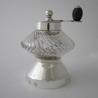 Antique Victorian Sterling silver and glass pepper grinder