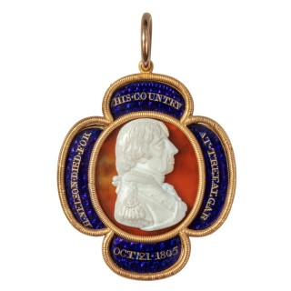 A gold, enamel and cameo commemorative pendant by William Tassie, 1805