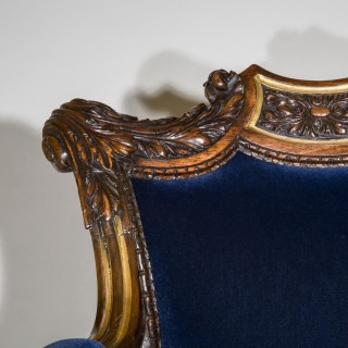 Regency Rosewood Parcel Gilt Armchair, attributed to Gillows
