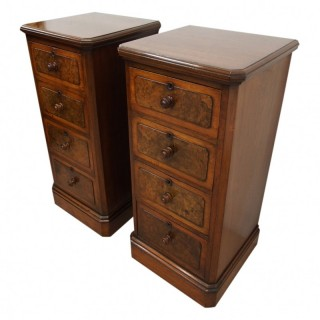 Pair of Neat Size Victorian Walnut Bedsides