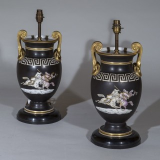Pair of 19th Century Neoclassical Black Vase Lamps