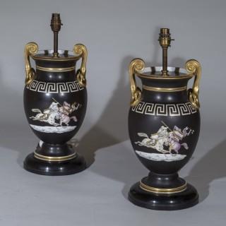 Pair of 19th Century Neoclassical Black Vase Lamps