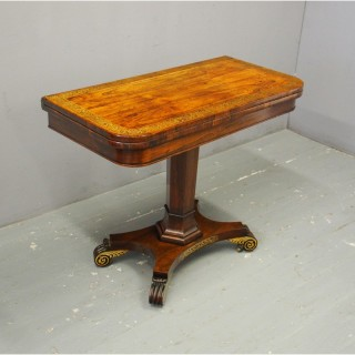 Regency Brass Inlaid Rosewood Games Table