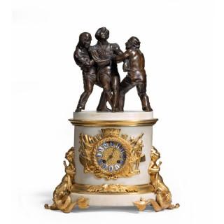 'The Death of Nelson' commemorative striking mantelpiece clock