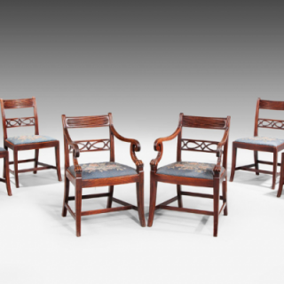 SET OF EIGHT GEORGE III PERIOD DINING CHAIRS WITH PIERCED SPLATS