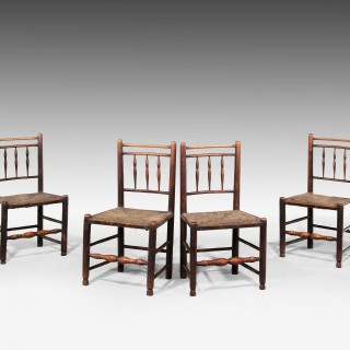 SET OF SIX GEORGE III PERIOD SPINDLEBACK CHAIRS
