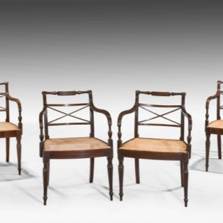 SET OF SIX GEORGE III PERIOD MAHOGANY ELBOW CHAIRS