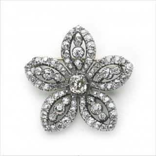 Georgian, diamond, five petalled flower brooch