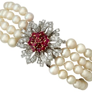 1.45ct Ruby and 2.02ct Diamond, Pearl and 15ct White Gold Bracelet - Vintage Circa 1950
