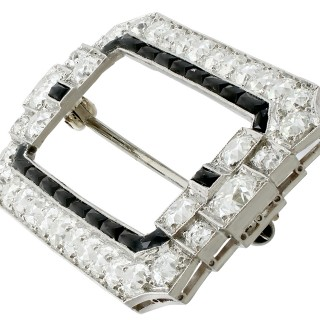 6.29ct Diamond and Onyx, Platinum Brooch - Art Deco - Antique Circa 1930