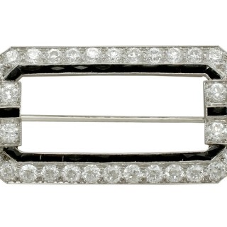 6.29ct Diamond and Onyx, Platinum Brooch - Art Deco - Antique Circa 1930