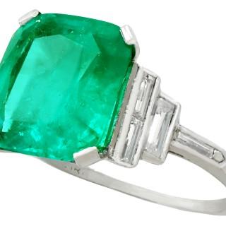 5.00 ct Colombian Emerald and 0.46 ct Diamond, Platinum Dress Ring - Antique Circa 1930