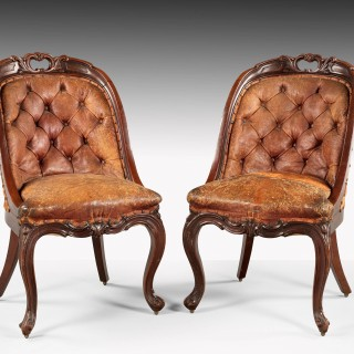 SET OF TEN MID 19TH CENTURY BUTTON BACK MAHOGANY CHAIRS
