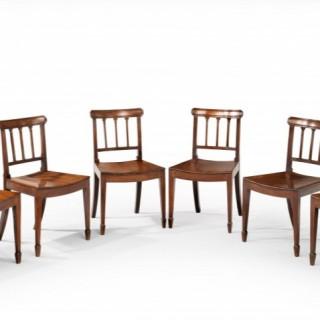 Set of Six Sheraton Period Mahogany Framed Chairs