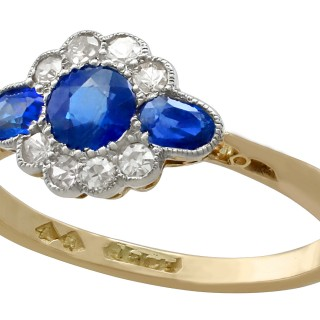 0.56 ct Sapphire and 0.16 ct Diamond, 18 ct Yellow Gold Dress Ring - Antique Circa 1910