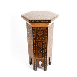 Antique Syrian Damascus Inlaid Hexagonal Occasional table C1910