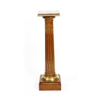 Antique French Fruitwood Ormolu Mounted Pedestal 19th Century