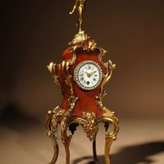 A Very Decorative French Simulated Tortoiseshell Mantel Clock circa 1870.